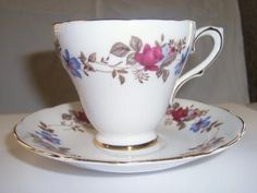 Vintage china teacup and saucer,  Sutherland Staffordshire china teacup set by earthlietreasures for $22.00