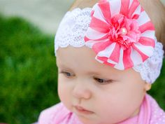 Lace and Coral Headband- Stretch Lace Headband with Coral and White Striped Flower (Pearl Center) on Etsy, $12.00
