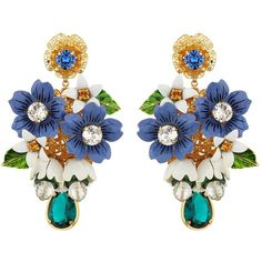 Dolce & Gabbana Embellished Flower Drop Earrings (€780) ❤ liked on Polyvore featuring jewelry, earrings, accessories, enamel flower jewelry, blossom jewelry, earring jewelry, enamel earrings and flower earrings