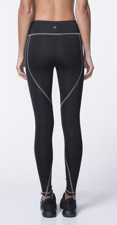 Lightweight scuba leggings in black. Mid rise with contrast stitching  throughout. Ankle length. 7184b104f2