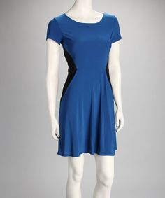 Take a look at this Royal Blue & Black Dress by Star Vixen on #zulily today!
