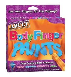 ADULT BODY FINGER PAINTS EDIBLE -  This erotic edible delight has been designed to enhance the sensuous creativity of lovers. Four fruity flavors Cherry Strawberry Blueberry Apple