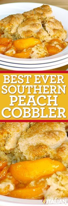 Best Ever Southern Peach Cobbler is the simple recipe of your dreams.  Fresh sweet peaches baked in a spiced sugar mixture and topped with the most amazing cobbler topping.  Sprinkled with sugar for a caramelized topping it is heaven on a plate.