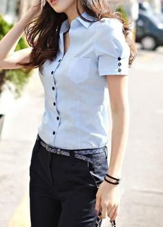 """Looks formales con blusas estilo camisera """"Cheap blouse sheer, Buy Quality blouse women directly from China blouse manufacturers Suppliers: 2015 Kurti Sleeves Design, Sleeves Designs For Dresses, Sleeve Designs, Blouse Designs, Crochet Bodycon Dresses, Diy Fashion, Womens Fashion, Latest Fashion, Do It Yourself Fashion"""