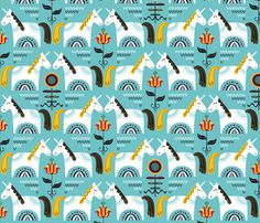 Dalarna Unicorns  fabric by chris_jorge on Spoonflower - custom fabric