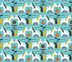 Dalarna Unicorns  fabric by chris_jorge on Spoonflower - custom fabric