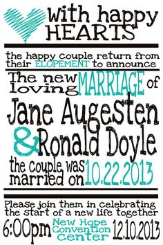 Elopement announcement...good idea if we decide to have any type of celebration.