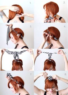 Retro Hairstyles Step by Step Retro Hairstyles: Guide To That Vintage Hair - These are cheap and easy and you won't even need many resources to copy these styles! So, let's get started with how to do step by step retro hairstyles. Braided Hairstyles Tutorials, Bandana Hairstyles, Retro Hairstyles, Braid Hairstyles, Wedding Hairstyles, Hairstyle Ideas, Hair Ideas, Hairdos, Bandana Updo