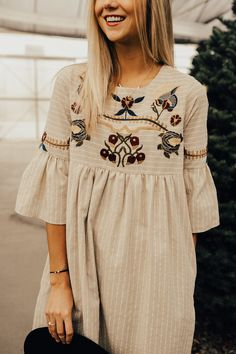 Santa Rosa Embroidered Dress in Taupe #ROOLEEfave