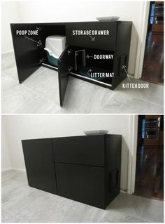 Hidden Litterbox. This would be good for still being able to keep the litter box in the living room on the hardwood and out of the way but also hide the nasty poo box.