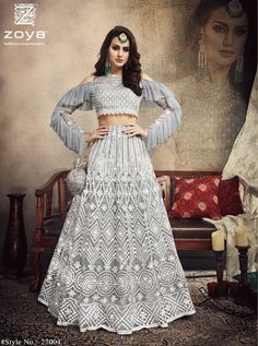 Grey Net Heavy Lehenga For Engagement. Grey Net Heavy Lehenga For Engagement full roughly sleeves with shoulder cut style for partywear and wedding wear Indian Wedding Gowns, Indian Gowns Dresses, Indian Bridal Outfits, Indian Fashion Dresses, Dress Indian Style, Indian Designer Outfits, Indian Designers, Punjabi Wedding, Pakistani Bridal