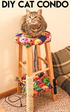 DIY Cat Condo made from an Old Stool