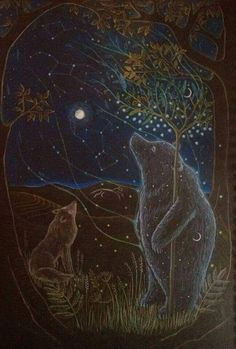Guardians of the Forest by Hannah Willow Wolf and Bear Art And Illustration, Art D'ours, Poster Design, Wolf Moon, Inspiration Art, Bear Art, Moon Art, Whimsical Art, Spirit Animal
