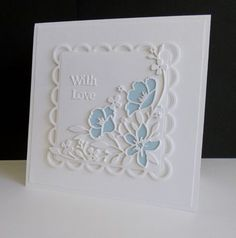 Today's challenge is 'One plus One' - using a neutral and one color. Die cut it twice in white for depth, and once in blue. Use the blue waste to 'colour' the flower.