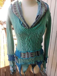 Upcycled Sweater Hoodie Pullover Teal Turquoise Blues Womens Pixie Hood