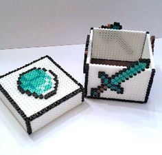 Diamond Sword Minecraft Keepsake Box perler beads by GamingBeads CUTE ! need to do a chest ! or iron ore etc ! Perler Beads, Hama Beads Minecraft, Fuse Beads, Hama Beads Patterns, Beading Patterns, Pixel Art, Bead Crafts, Diy Crafts, Iron Beads