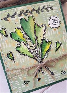 Stamp ALL&Create by Tracy Evans made by Rosanna Zuppardo Art Journal Pages, Art Journals, Art Journal Inspiration, Journal Ideas, Mixed Media Cards, Atc Cards, Pretty Cards, Heart Art, Altered Books