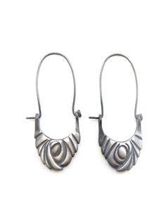 Swirling Vortex Hoop Earrings - recycled silver - Sharon Z Jewelry