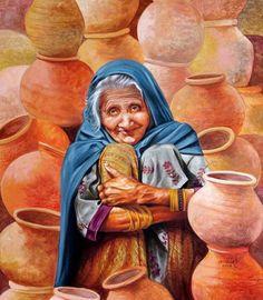 Orange-Red acrylic Painting by Milind Varangaonkar on Canvas, Realistic based on theme Capturing Life. Rajasthani Painting, Rajasthani Art, Watercolor Landscape Paintings, Watercolor Art, Watercolor Portraits, Art Village, Indian Folk Art, Indian Artist, Realistic Paintings
