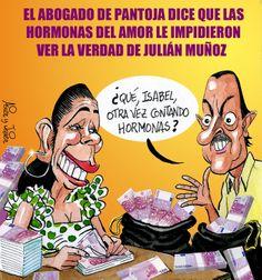 A Isabel Pantoya no le dejaban ver la realidad de Julián Muñoz las hormonas de su amor. Caricatura, Humor, Viñeta.