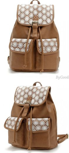 a9c8c6674f Unique Brown Leather Stitching Lace Leisure Backpack School Bag only  34.99  -ByGoods.com