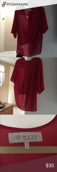 Red WAYF blouse Blue red WAYF wrap top that is longer in back, 3/4 sleeve. NO TRADES Wayf Tops Blouses