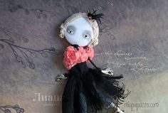 Young Ballerina Art Doll Brooch mixed media collage by miopupazzo