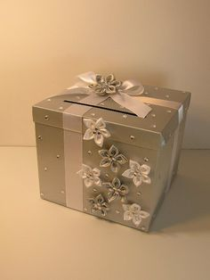 Silver and White Wedding Card Box Gift Card Box Money Box Holder-Customize your color. $, via Etsy.