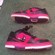 Womens Nike airs Worn once. Size 8. Amazing condition. How pink black and white. Nike Shoes Sneakers