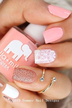 33 cute summer nail design ideas 2019 summer nails 2019 … nails nail designs ideas nail des… - All For Hair Color Trending Cute Summer Nail Designs, Cute Summer Nails, Short Nail Designs, Shellac Pedicure, Glitter Pedicure, Pink Pedicure, Gel Nagel Design, Pedicure Designs, Pedicure Ideas