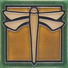 arts+&+crafts+movement+lighting | ... Home » Arts & Crafts Tile » Dragonfly Arts and Crafts Unframed Tile