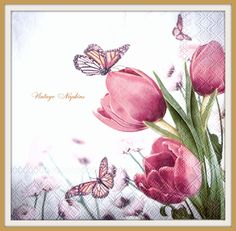 PAPER napkins for DECOUPAGE - Pink Tullips with Butterflies #277 by VintageNapkins on Etsy
