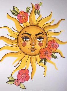 Indie Drawings, Psychedelic Drawings, Art Drawings Sketches, Hippie Drawing, Hippie Painting, Sun Painting, Ukulele Art, Sharpie Doodles, Indie Art