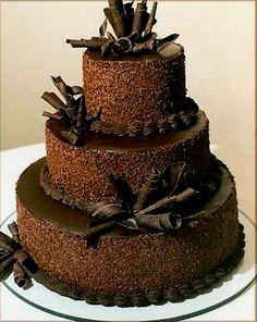 Chocolate Wedding Cake With Beautiful Sprinkles Designs This Looks Yummy