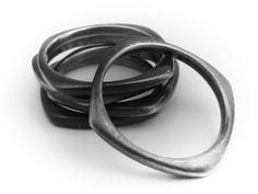 Round Square Sterling Silver Stacking Rings  by HAMMERHEADdesigns, $90.00