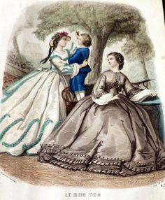 1862 Civil War Era FRENCH FASHIONS ENGRAVING Handcolored Original Bon Ton 1800s