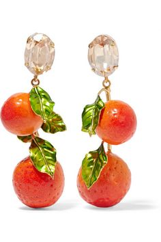 Dolce & Gabbana | Gold-plated, Swarovski crystal and enamel clip earrings | NET-A-PORTER.COM