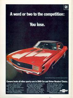 1969 Chevrolet Camaro coupe advertisement