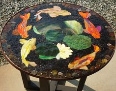 """MADE-to-ORDER 30"""" KOI mosaic table top patio bistro stained glass custom art furniture"""