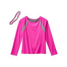 Girls 7-16 & Plus Size SO® Long Sleeve Top & Headband Set, Girl's, Size: 14 1/2, Brt Pink