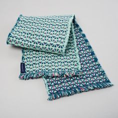Mint, Teal, Magenta & Pale Yellow Handwoven Lambswool Scarf - Triangle Design