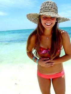 Beach, hat, bikini