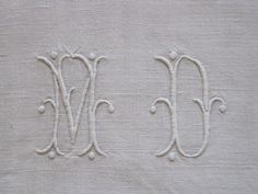 Marvellous MD Monogram on Fabulous Large Pure Linen French Sheet