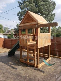 Under $2,000 Backyard Jungle Gym, Backyard Swing Sets, Backyard For Kids, Simple Playhouse, Outdoor Play Structures, Simple Tree House, Play Fort, Treehouse Ideas, Backyard Playground