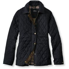 L.L.Bean Quilted Riding Jacket (180 CAD) ❤ liked on Polyvore featuring outerwear, jackets, coats, sweaters and jackets, tops, faux-leather jacket, long quilted jacket, long jacket, quilted jacket and lined jacket