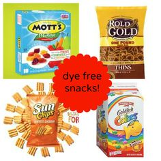 List of dye free foods from breakfast to dinner and snacks