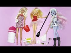 How to make realistic cleaning supplies for Monster High, Barbie & Winx Dolls - 10 crafts in 1 video