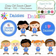 ON SALE Daisy Girl Scouts Digital Art Set by BitsyCreations, $3.75