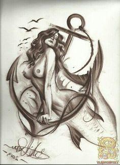 Mermaid tattoo and anchor.