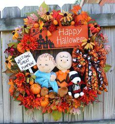 Peanuts Great Pumpkin Charlie Brown XL Halloween Snoopy Wreath, by IrishGirlsWreaths, $179.99